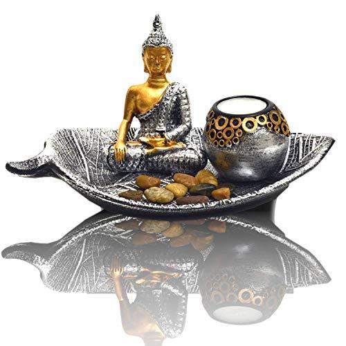 INtrenDU Orientalische Dekoschale mit Buddha Figur Dekosteinen und Teelichthalter zur Meditation