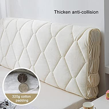 Bed Headboard Cover Queen Size Slipcover Protector with Stretch Side and Pocket Dustproof Cotton Super Soft Comfotable Short
