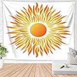 Brandless Sun Tapestry Sunrise Sunset Wall Hanging Home Manta Cubierta Paisaje Decoración de Pared para Dormitorio Sala de Estar (150x130cm)