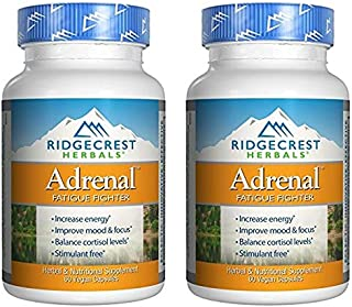 Ridgecrest Naturals Adrenal Fatigue Fighter (Pack of 2) with Vitamin B1, B2, B4, B5, B6 and B12, Ginseng, Basil and Ginger Root, 60 Capsules Each