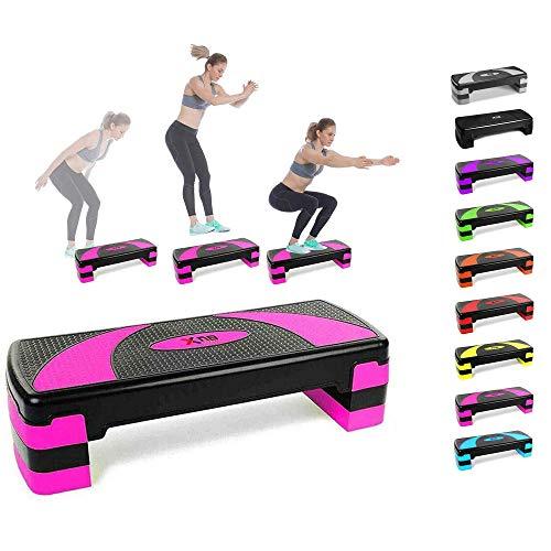 Xn8, Stepper Regolabile per Esercizi cardiovascolari, aerobici, Palestra, Yoga, Rosa.