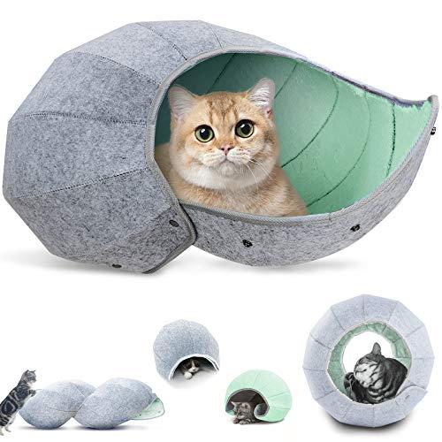 K・1猫 ベッド ドーム 猫ハウス キャットハウス 猫 トンネル おもちゃ 猫 ボール ネコ ハウス ペットハウス 8 in 1多機能 かわいい 丸洗える 折りたたみ式 四季通用