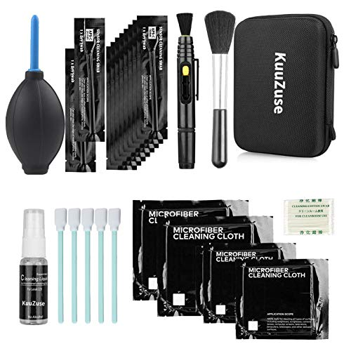 KuuZuse Professional DSLR Camera Cleaning Kit with APS-C Cleaning Swabs, Microfiber Cloths, Lens Pen, for Camera Lens, Optical Lens and Digital SLR Cameras