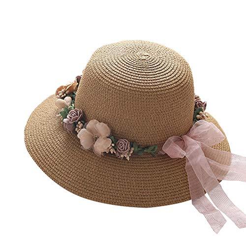 WYJW Pet Strohoed vizier hoed zonnehoed opvouwbaar verstelbaar strand hoed dames zomer schaduw pastoral zachte slinger reis vakantie opvouwbaar 1 stuk