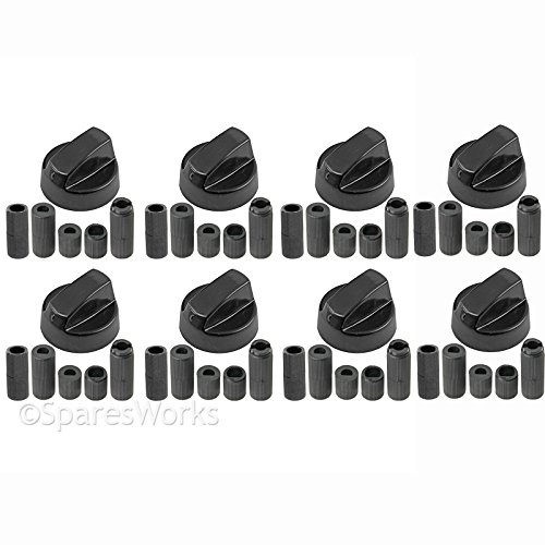 Spares2go Multi Model Fitting Black Control Switch Knobs For all makes And models Of Oven, Cooker & Hob (Pack Of 8)