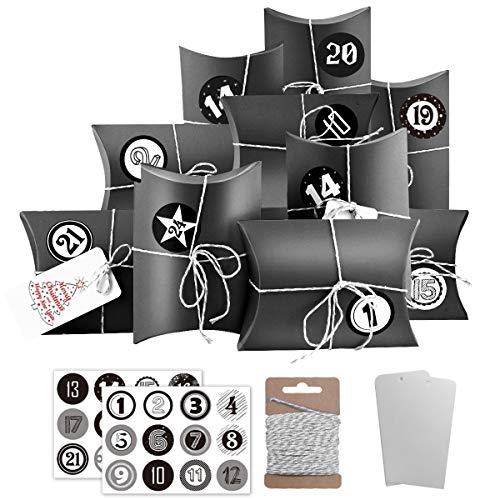 Dusor Adventskalender zum Befüllen, 24 Geschenkbeutel mit Zahlen Sticker, Weihnachten Papiertüten, Weihnachtskalender Bastelset für Weihnachts Kindergeburtstag Hochzeiten(Schwarz)