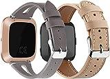 Abasic Correa de Reloj Piel Compatible con Fitbit Versa, Correa/Banda/Pulsera/Strap (2PCS E)