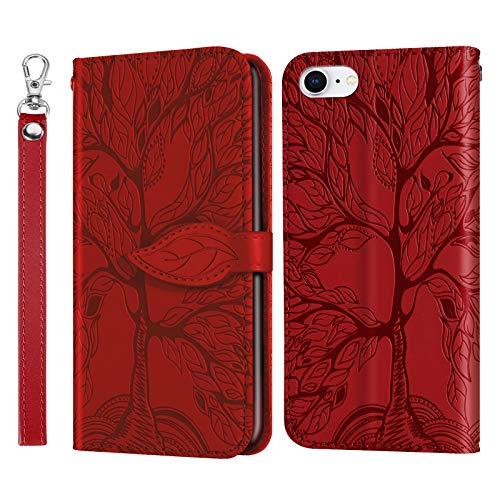 AsWant Hülle für iPhone SE 2/iPhone 7/iPhone 8 Geprägte Baum PU Leder Tasche Hülle Brieftasche Flip Schutzhülle Magnetisch Stand Funktion Handyhülle für iPhone 7 / iPhone 8 / iPhone SE 2 Gen - Rot