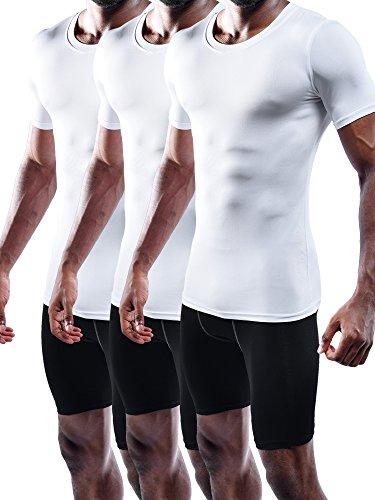 Neleus Men's 3 Pack Compression Shirts,5011,White,2XL,EUR 3XL