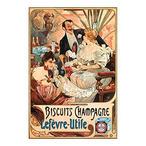 Franse reclame teken Mucha koekjes Champagne LefevreUtile Art Nouveau