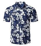 Mens Hawaiian Shirt - Summer Beach Hawaiian Shirts for Men - Tropical Aloha Button Up Shirt (Navy Hisbicus, X-Large)