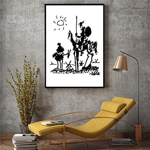 fancj Póster minimalistaarte de paredlienzo de Estilo nórdico Banksypintura de Pandacuadros modularesdecoración moderna para EL hogar para sala de estar-60x80cm-No_Frame