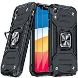 JAME Case for iPhone XR Phone Cases with Screen Protectors 2PCS, Military-Grade Drop Protection, Protective Phone Cases, Car Mount Ring Kickstand Shockproof Bumper Xr Case for iPhone XR 6.1 Inch Black