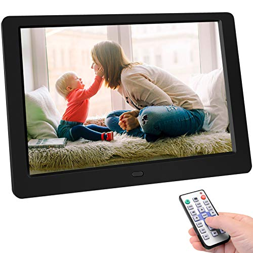 Digital Photo Frame, 10 inch Digital Picture Frame HD 1280x800 16: 10 Full IPS Display Photo/Music/Video/Calendar, Auto On/Off Timer, Background Music Support 32GB USB Drives/SD Card,Remote Control 100 Digital Picture Frames