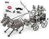 Brubaker Carrozza da Sposa in Metallo, Lunghezza 37 cm, Dono di Nozze con Biglietto d'auguri Mr. & Mrs, fine soprammobile