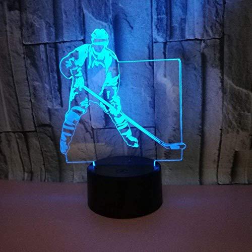 Hockeyspieler 3D Illusionslampe für Kinder Jungen Mädchen Geschenk 3D Nachtlicht für Schlafzimmer neben Tisch, 16 Farbwechsel LED Stimmungslampe Schreibtisch Tischlampe Kinder Geschenk