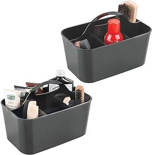 mDesign boîte à cirage (lot de 2) – casier à cirage à 4 compartiments – superbe caisse de rangement en plastique résistant...