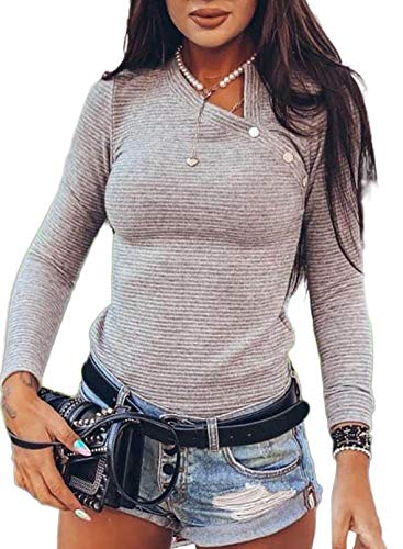 BLENCOT Womens Long Sleeve V-Neck Button Waffle Knit Causal Tops Blouse T Shirt Basic Fall Work Wear Grey Large