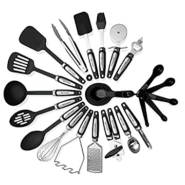 Kitchen Utensils Sets 26 Pieces – Stainless Steel And Nylon Cooking Tools Spoons, Turners, Tongs, Spatulas, Pizza Cutter, Whisk Measuring Cups & Spoons And More – By Kitch N' Wares
