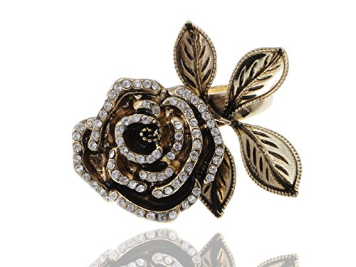 ALILANG Womens Damen Gothic Vintage Golden Big Rose Flower Band Cocktail Party Ring