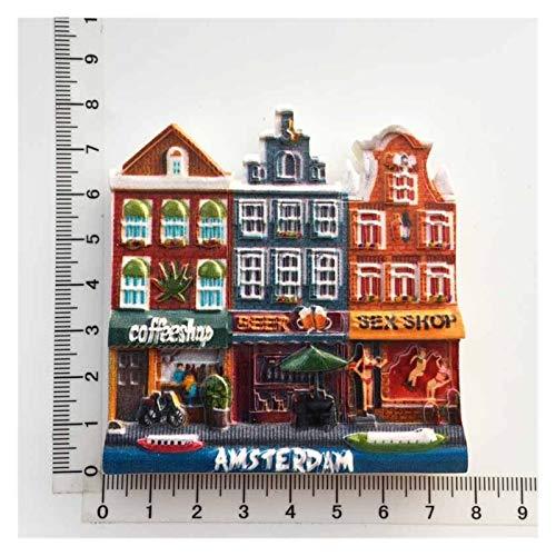 JSJJAWS Imanes Nevera Holanda Creative Frigorífico Imán Souvenir Amsterdam Street Cultural Paisaje Turista Regalo Ideas 3D Resina Frigorífico Imán Decoración Regalo (Color : 6)