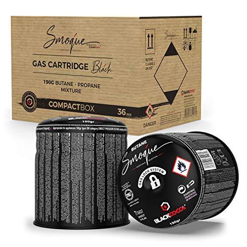 BLACKCOCO's 36x Gaskartuschen für Campingkocher Gas 190g Butangas Kartusche Stechkartusche für Gaskocher Gasgrill Camping Shisha Outdoor Kocher - Smoque