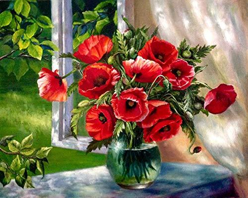 YEESAM ART Neuerscheinungen Malen nach Zahlen für Erwachsene Kinder - Windowsill Mohnblumen Blume Flower 16 * 20 Zoll Leinen Segeltuch - DIY ölgemälde ölfarben Weihnachten Geschenke