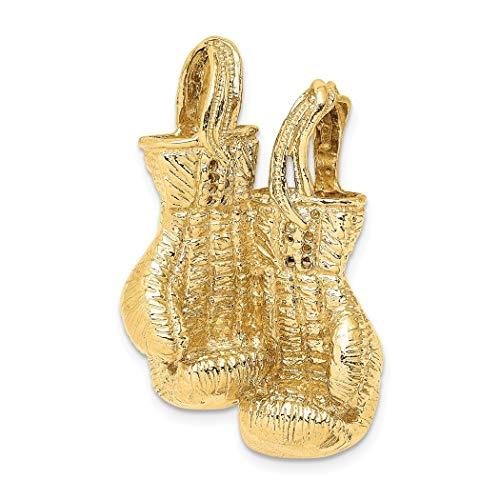 Halskette mit Anhänger, 14 Karat Gold, 3D-Boxhandschuhe, hochglanzpoliert und Text