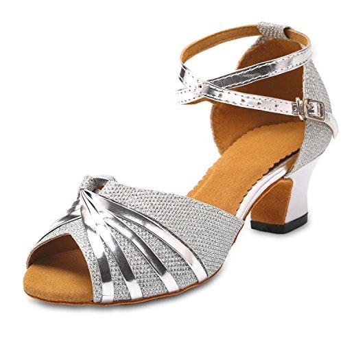 KAI-ROAD Ballroom Dance Shoes Women 2 inch Heel Wedding Shoe Salsa Latin Dance Heels for Practice, Silver (10 M US)