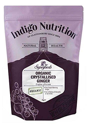 Indigo Herbs Jengibre Cristalizado Orgánico 1kg (deshidratado con azúcar)