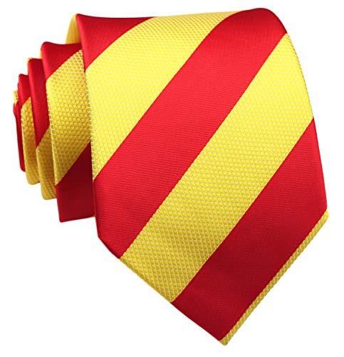 Klassische Krawatte für Herren, gestreift, gemustert, handgefertigt, schmal -  Rot -  Einheitsgröße