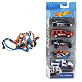Hot Wheels Triple Looping, Pista de Coches de Juguete (Mattel FTB65) + Pack de 5 vehículos, Coches de Juguete (Modelos Surtidos) (Mattel 1806)