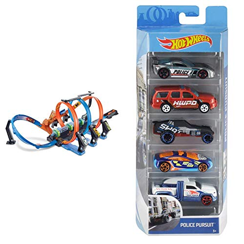 Hot Wheels FTB65 - Action Korkenzieher Crash Trackset, Auto Rennbahn mit 3 Loopings und Beschleuniger & Wheels 01806 5er Pack 1:64 Die-Cast Fahrzeuge Geschenkset