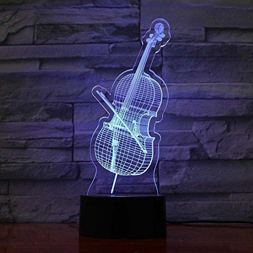 LLZGPZXYD 3D LED-nachtlampje, 7 kleurrijke decoratie, speelgoed, geschenken, viool, modelbouw, muziekinstrumenten, bureaulamp, USB-lamp, slaapkamerlamp Touch Switch