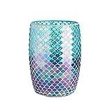 Whole Housewares Bathroom Wastebasket - Glass Mosaic Decorative Trash Can Dia 7.5' H 10' (Fan Shape)