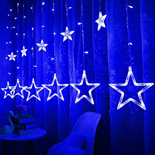 Yelite LED Curtain Lights,12 Stars 138 LED Curtain String Lights Memory Window Curtain Lights with 8 Flashing Modes Decoration for Christmas, Wedding, Party,Wall, Home Decorations (Blue)