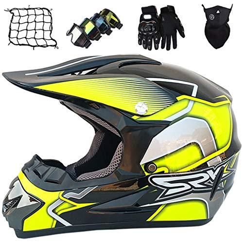 Casco Motocross Niño, MJH-01 Cascos de Cross de Moto con Guantes/Gafas/Máscara/Red de Bungy (5 piezas), Equipo de Proteccion para MX Quad Descenso Enduro Motocicleta, Negro Amarillo