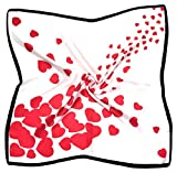 Bufanda De Seda Pura Cuadrada Fina Blanca Con Estampado De Corazones Rojos Pequeños