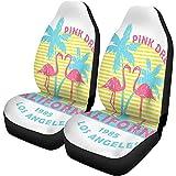 Fundas para asientos de coche California Los Angeles Flamingo and Palm Trees Slogan Pink Set de 2 protectores