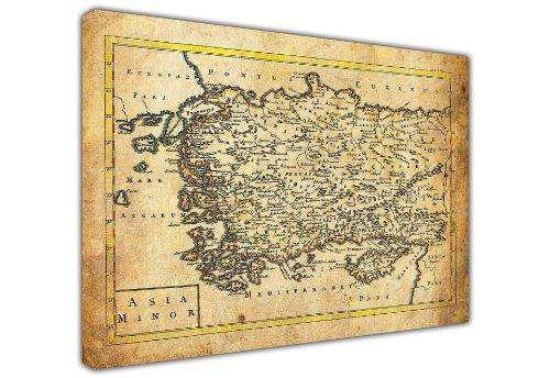 Wanddekoration, Leinwand, Groß Vintage aussehende Kleinasien Karte Landschaft Foto Prints Bild Home Dekoration Raum Dekor, canvas holz, 03- 30