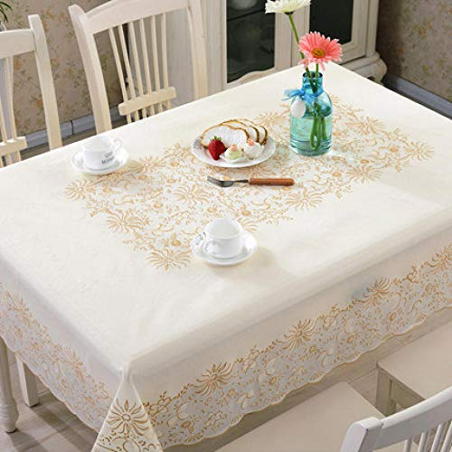 Traann Plastic table Covers Wipe Clean, Square Modern/Protector Textile Backing Retro Patroon 132*177 A