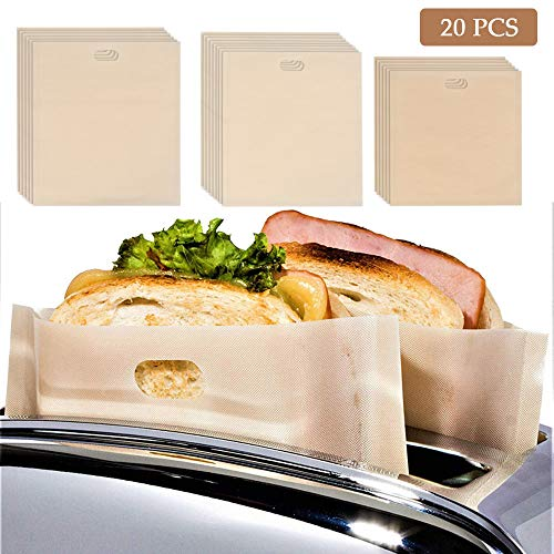 20 Pack Toaster Bags Reusable, 3 Sizes Non Stick Kitchen Toaster Pockets Heat Resistant Toaster Bags - FDA Approved, Perfect for Grilled Cheese Sandwiches, Chicken, Pizza, Pastries, Panini