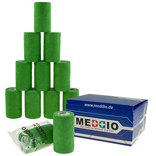12 Haftbandagen Größe+Farbe wählbar - selbsthaftende Bandage Fixierverband selbstklebend, Farbe:natural green, Größe:10cm