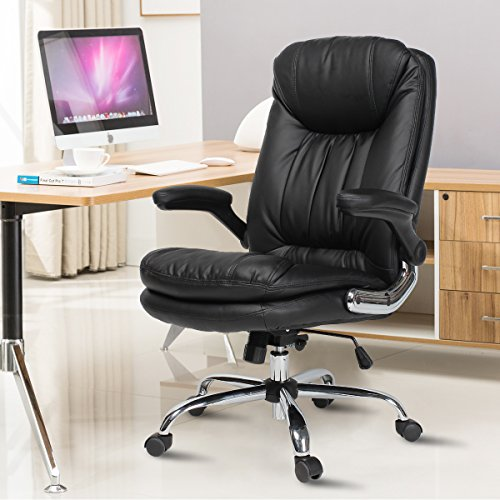 B2C2B Ergonomic Office Chair - High Back Desk Chair with Flip-Up Arms and Comfy Thick Cushion Leather Computer Chair Big and Tall 350lb Weight Capacity, Black