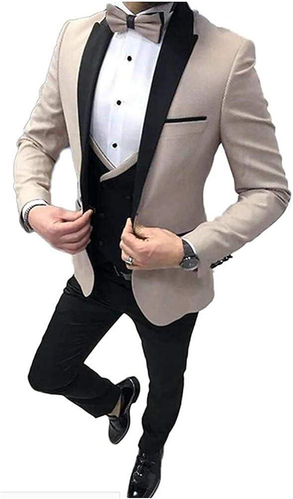 3 Pcs Peak Lapel Wedding Men Suits Prom Grooms Wedding Tuxedo Business Suits