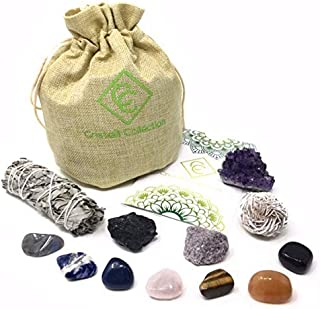Cristalli Collection Crystals and Healing Stones, 12 Piece Gift Set, 7 Chakra Tumbled Stones, Black Tourmaline, Amethyst Cluster, Raw Lepidolite, White Sage, Desert Rose Selenite, Guide, Ebook