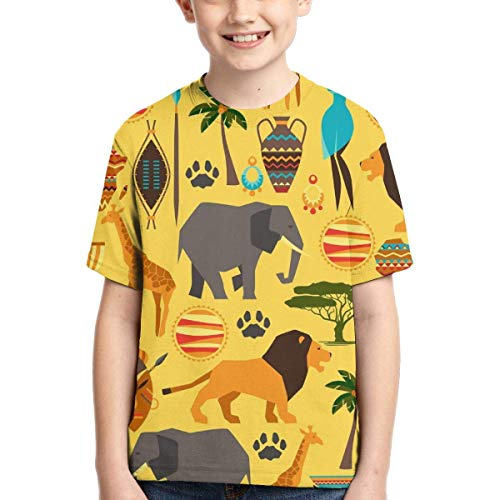 XCNGG Jungen Tops T-Shirts Youth Short Sleeve T-Shirts Yellow African Lion Kids Casual Graphics Tees