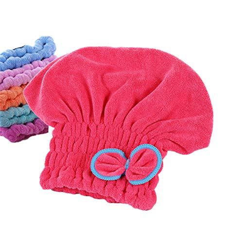 Happyit Ultrafeine Faser Fliege Weiches Haar Trocknen Kappe Hut Handtuch Super Magie Absorbieren für Frauen Mädchen Dame Bad Dusche (Rot)