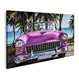 Bild auf Leinwand HDR Kuba rosa amerikanischer Oldtimer