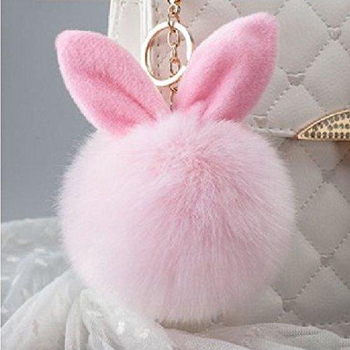 Bluelans® Schlüsselanhänger aus Kunstfell Kaninchen Fellbommel Bommel Geburtstagsgeschenk Taschenanhänger (Rosa)
